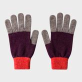 Paul Smith Men's Plum Colour-Block Wool Gloves