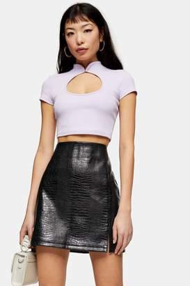 Topshop Womens Petite Fiji Black Crocodile Faux Leather Pu Split Mini Skirt - Black