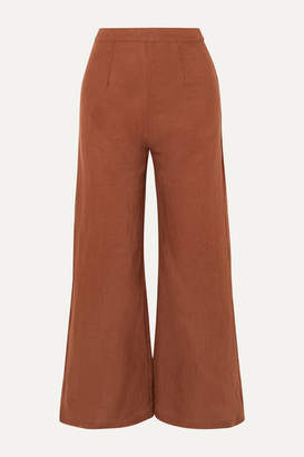 Faithfull The Brand Scelsi Cropped Linen Wide-leg Pants - Tan