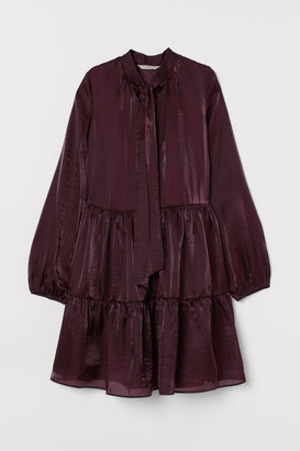 H&M Dress with Tie Collar - Purple