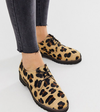 Asos DESIGN Wide Fit Virtual leather lace up flat shoes in leopard