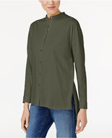 Eileen Fisher Organic Cotton Mandarin-Collar Shirt