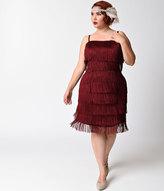 Unique Vintage Plus Size Burgundy Speakeasy Tiered Fringe Flapper Dress