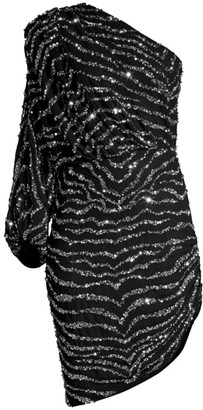 Jay Godfrey One-Shoulder Zebra Sequin Dress