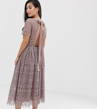 Asos DESIGN Petite lace midi dress with ribbon tie and open back-Beige