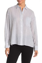 Vince Striped Boxy Button Front Shirt