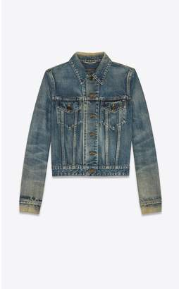 Saint Laurent Denim Jacket In Dirty Sandy Blue