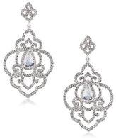Carolee Silvertone Crystal Openwork Earrings