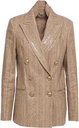Brunello Cucinelli Double-breated Sequin-embellished Herringbone Cotton-blend Blazer