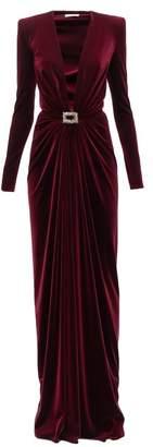 Alexandre Vauthier Plunge-neck Buckled Velvet Wrap Dress - Womens - Burgundy