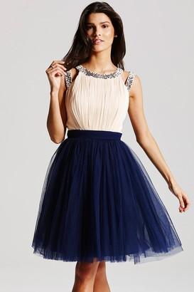 Little Mistress Cream and Navy Chiffon Prom Dress