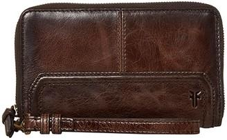 Frye Mel Zip Wallet (Dark Brown) Wallet Handbags