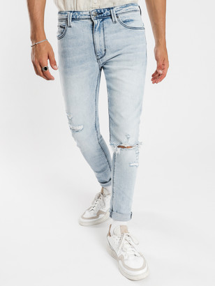 Abrand A Dropped Slim Turn Up Jeans Get Shaky Blue Denim