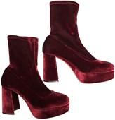 Prada Burgundy Velvet Ankle boots