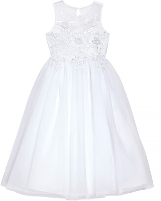 Us Angels Floral Embroidered Tulle First Communion Dress