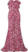 Oscar de la Renta Strapless Ruffled Printed Silk Crepe De Chine Gown - Red