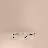 Burberry Check Detail half-rimmed Oval Optical Frames