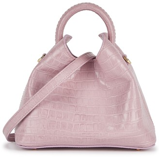 Elleme Baozi dusty pink crocodile-effect leather cross-body bag