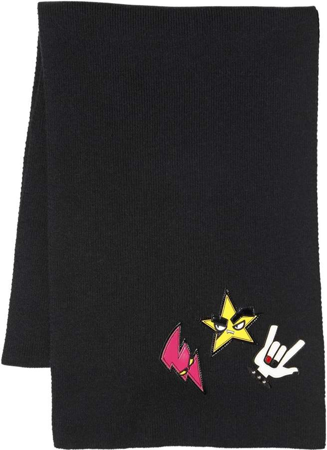 DSQUARED2 Punk Patches Wool Scarf