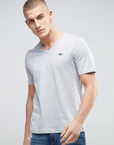 Lacoste Live V-neck T-shirt Croc Logo Slim Fit In Grey