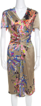 Escada Multicolor Fantasy Print Silk Inverted Pleat Front Dress M
