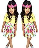 Fheaven Baby Girls Floral Dress Mini Skirt+Cotton Blend Top T-Shirt Outfits Set Clothes (5T, Yellow)