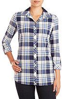 Peter Nygard Roll-Tab Sleeve Plaid Knit Chiffon Shirt