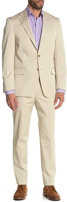 Hart Schaffner Marx Beige Plain Two Button Notch Lapel New York Fit Suit