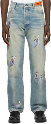 Heron Preston Blue Regular Embroidered Jeans