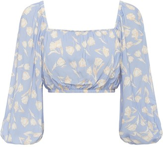 Peony Swimwear Tulip Print Cropped Blouse
