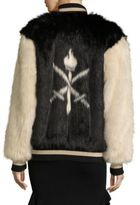 Opening Ceremony Faux Fur Varsity Jacket