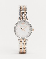 Juicy Couture Gold and Silver Watch with Diamante Crown Logo