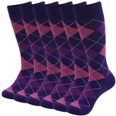 SUTTOS Elite Men's Women's Unisex Fun Pink Black Argyle Plaids Jacquard Pattern Charged Cotton Soft Long Tube Casual Dress Socks,6 Pairs Pack