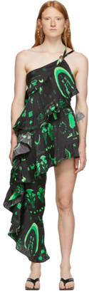 Marine Serre Black and Green Asymmetric Hybrid Flamenco Dress