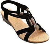 YOUJIA Women's Bohemian Beaded Peep Toe Ankle Strap Sandal Elestic Slingback T-Strap Wedge Sandals