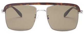Alexander McQueen Tortoiseshell-trimmed Aviator Metal Sunglasses - Womens - Grey Multi