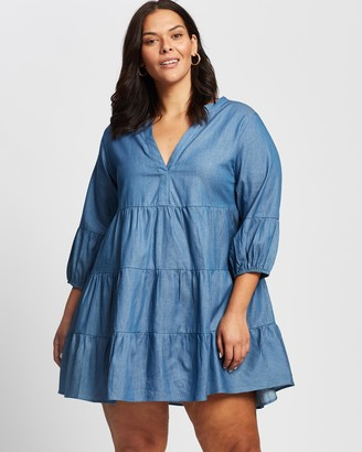 Atmos & Here Atmos&Here Curvy - Women's Blue Mini Dresses - Addison Mini Dress - Size 20 at The Iconic
