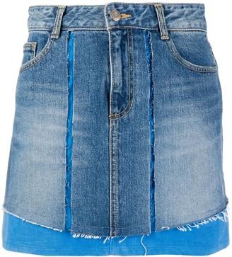Sjyp Corduroy Mixed Denim Skirt
