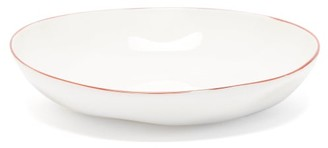 Feldspar - Painted-rim Fine China Pasta Bowl - Red White