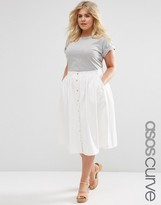 Asos Denim Midi High Waist Skirt with Button Down Front