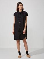 Frank + Oak Sleeveless Band-Collar Tencel Shirtdress in Black
