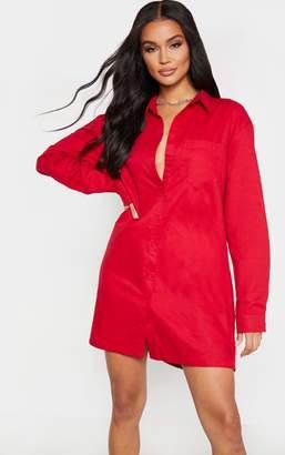 PrettyLittleThing Scarlet Corduroy Collar Detail Shirt Dress