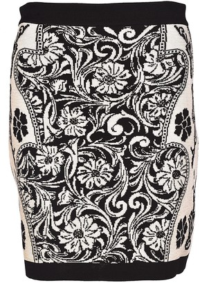 Balmain Floral Print Mini Skirt