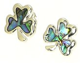 Neptune Giftware Beautiful Natural Abalone Paua Shell Shamrock Silver Earrings In Gift Box