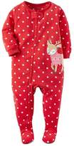 Carter's Toddler Girl'sT Christmas Dot Reindeer Fleece Footed Pajama Sleeper