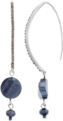 Vera Wang Simply Vera Tone Threader Blue Bead Earrings