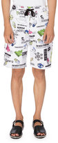 Kenzo Cartoon Logo-Print Sweat Shorts, White