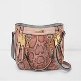 River Island Womens Pink snakeskin mini scoop cross body tote bag