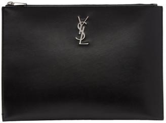 Saint Laurent Black Monogramme Tablet Holder Pouch