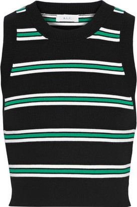 A.L.C. Archer Cropped Striped Ribbed-knit Top